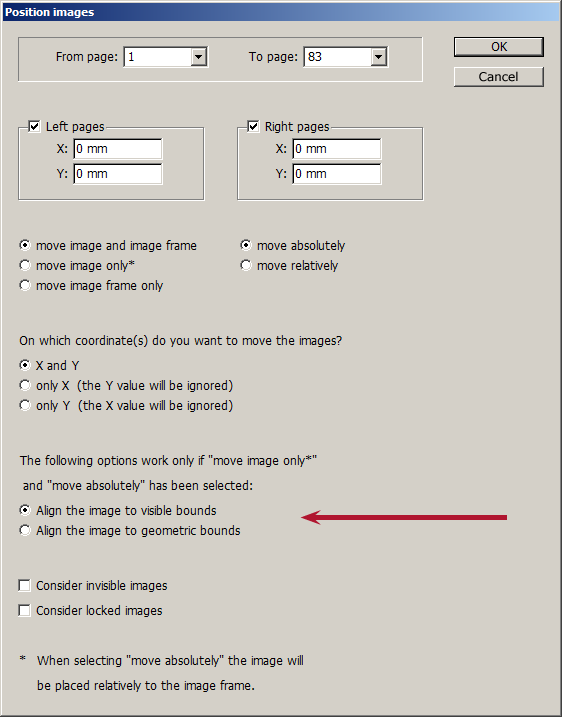 Dialog box for the InDesign script: Position images