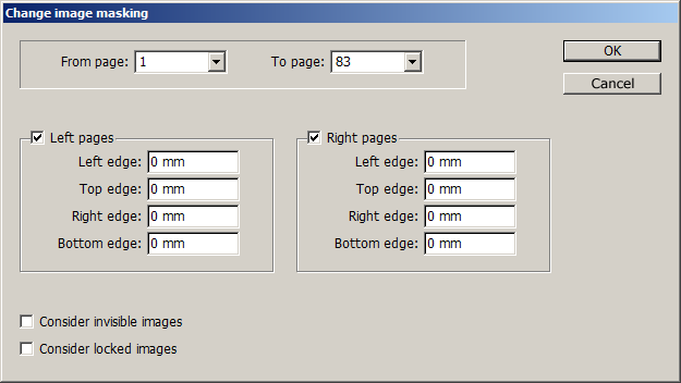 Dialog box for the InDesign script: Change image masking